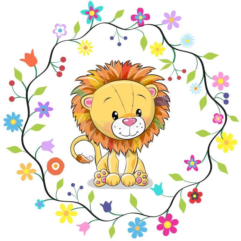 Χαριτωμένο λιοντάρι σε ένα πλαίσιο λουλουδιών ελεύθερη απεικόνιση δικαιώματος