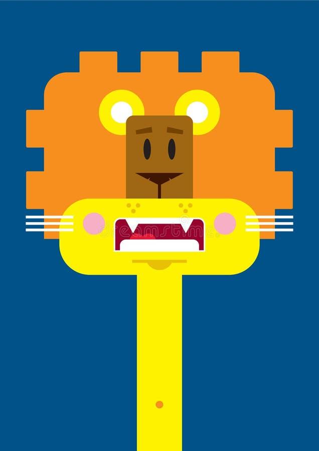 Χαριτωμένο λιοντάρι κινούμενων σχεδίων διανυσματική απεικόνιση