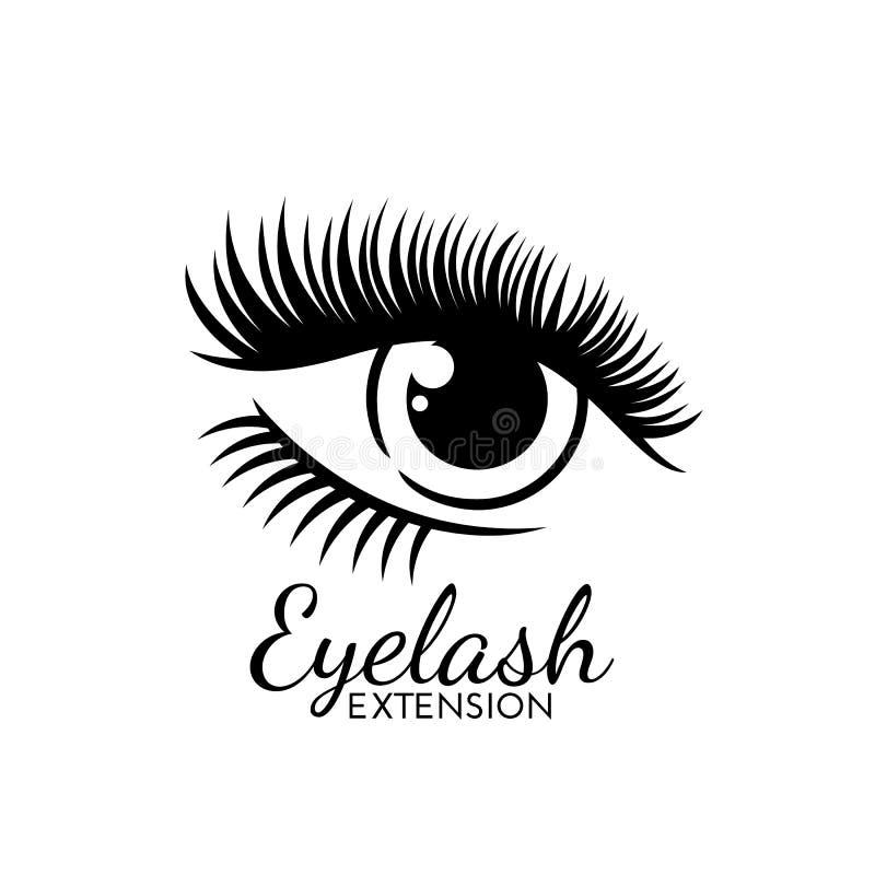 Χαριτωμένο λογότυπο επέκτασης Eyelash που απομονώνεται στο λευκό απεικόνιση αποθεμάτων