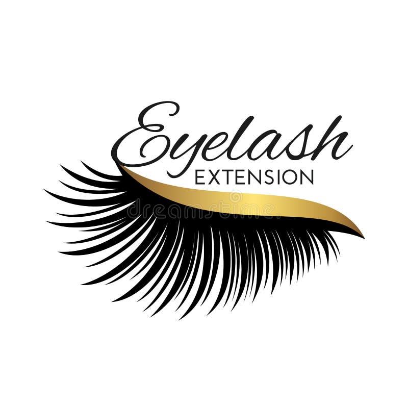 Χαριτωμένο λογότυπο επέκτασης Eyelash που απομονώνεται στο λευκό ελεύθερη απεικόνιση δικαιώματος