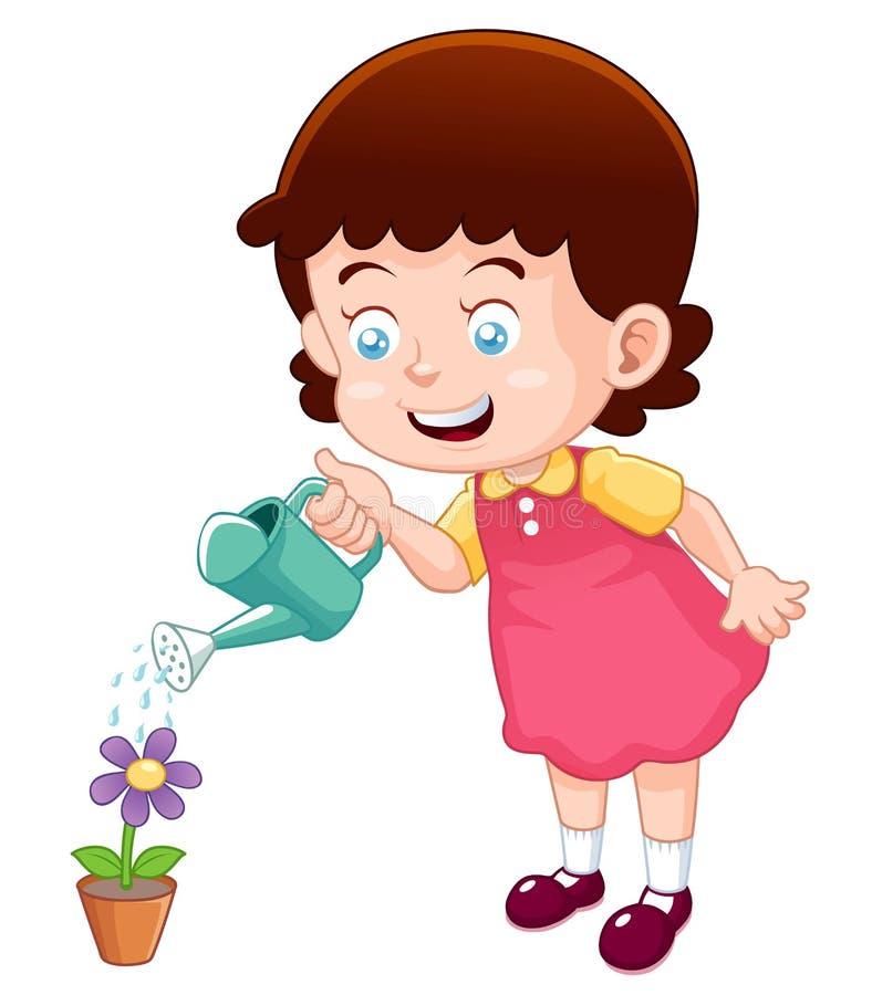 Χαριτωμένο λουλούδι ποτίσματος μικρών κοριτσιών διανυσματική απεικόνιση