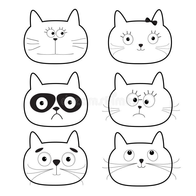 Χαριτωμένο μαύρο επικεφαλής σύνολο γατών περιγράμματος χαρακτήρες κινουμένων σχεδίων αστείοι Άσπρη ανασκόπηση απομονωμένος Επίπεδ ελεύθερη απεικόνιση δικαιώματος