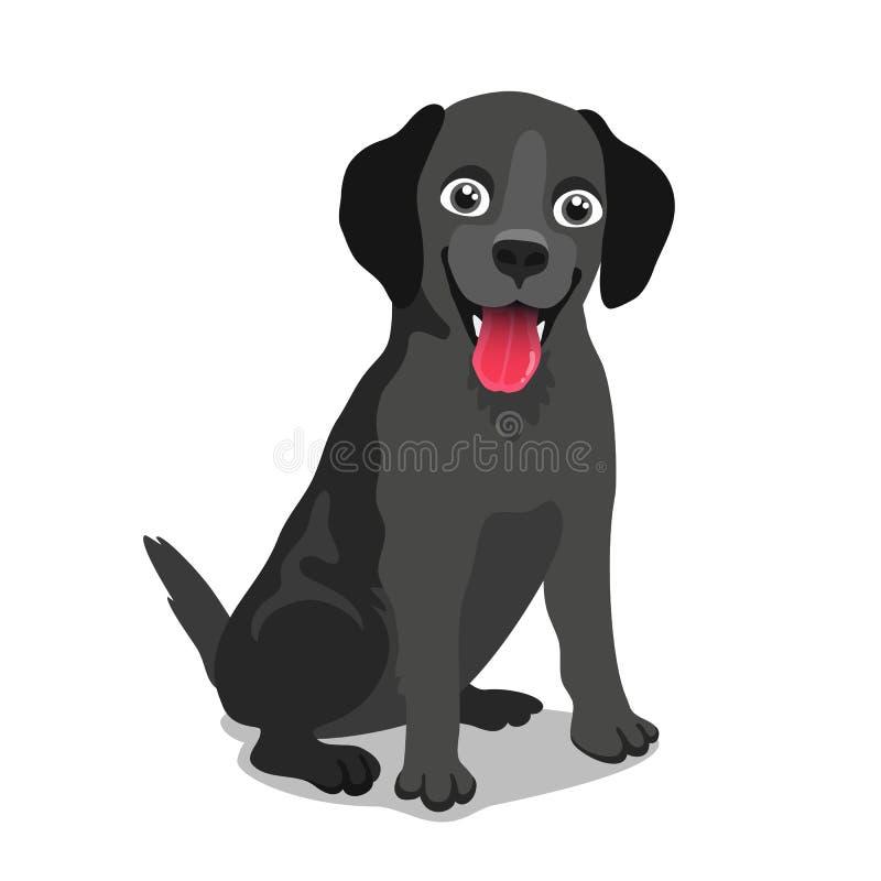 Χαριτωμένο μαύρο σκυλί του Λαμπραντόρ απεικόνιση αποθεμάτων
