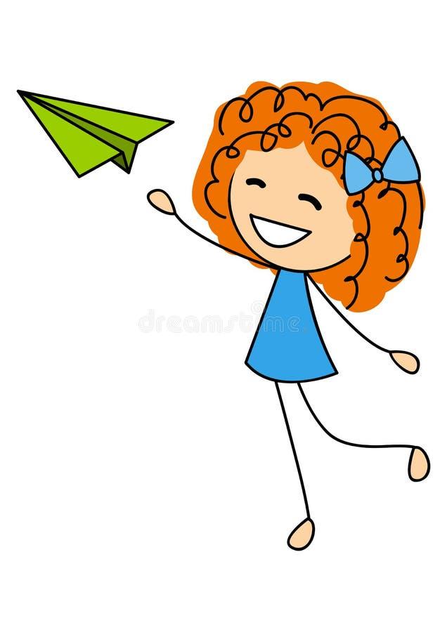 Χαριτωμένο μικρό κορίτσι με το αεροπλάνο εγγράφου απεικόνιση αποθεμάτων