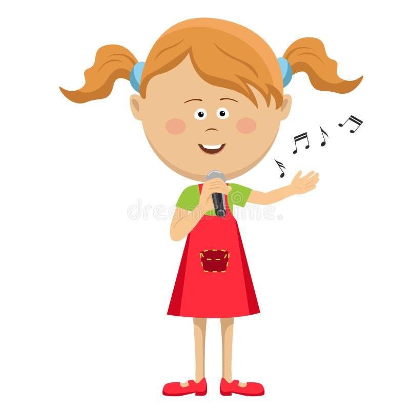Χαριτωμένο μικρό κορίτσι με το τραγούδι μικροφώνων που απομονώνεται στο άσπρο υπόβαθρο απεικόνιση αποθεμάτων