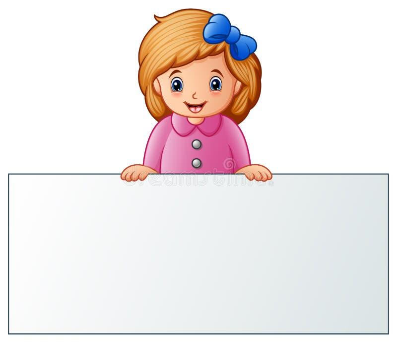 Χαριτωμένο μικρό κορίτσι πίσω από το κενό σημάδι διανυσματική απεικόνιση
