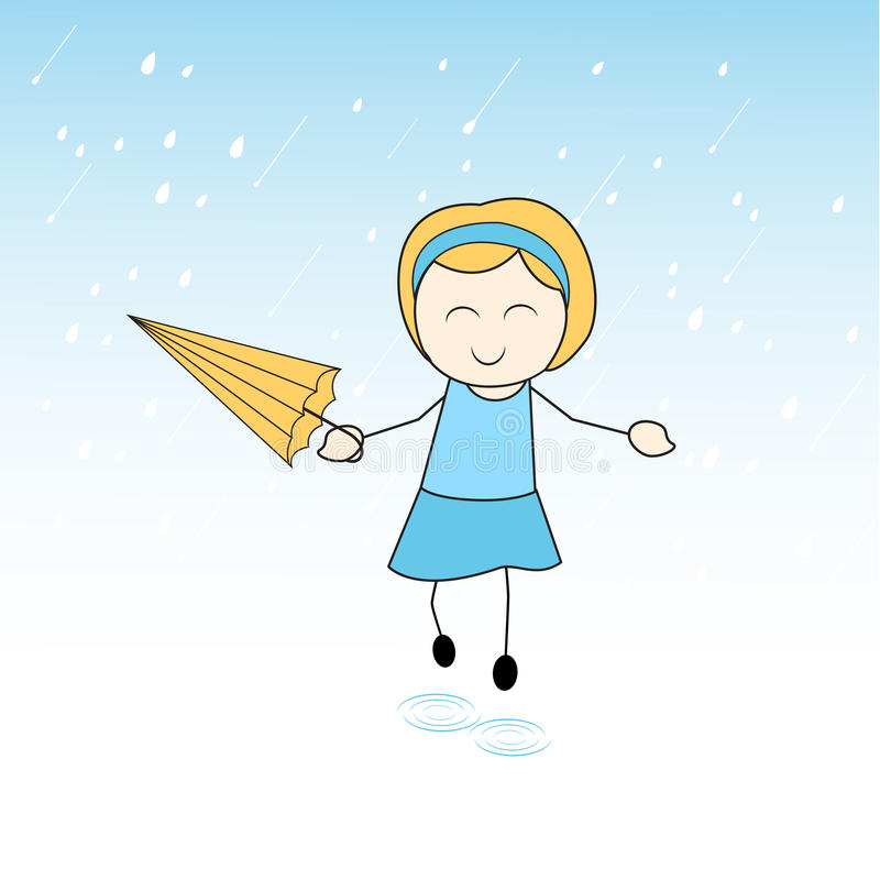 Χαριτωμένο μικρό κορίτσι που απολαμβάνει τη βροχή ελεύθερη απεικόνιση δικαιώματος