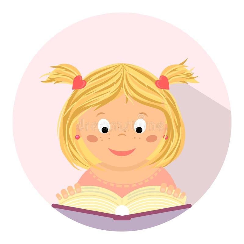 Χαριτωμένο μικρό κορίτσι που διαβάζει ένα βιβλίο Εκπαίδευση, μελέτη, σχολείο, παιδί ελεύθερη απεικόνιση δικαιώματος