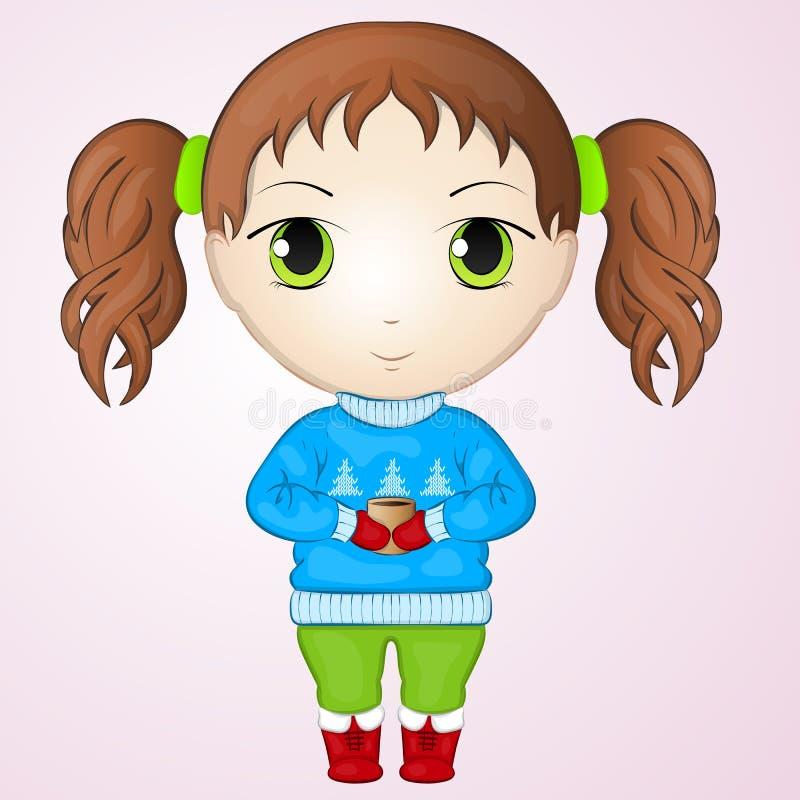 Χαριτωμένο μικρό κορίτσι chibi anime που φορά το πουλόβερ και που κρατά το φλυτζάνι του θερμού τσαγιού Απλό ύφος κινούμενων σχεδί διανυσματική απεικόνιση