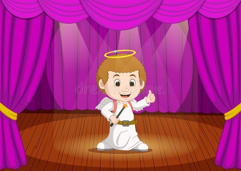 Χαριτωμένο μικρό παιδί που φορά το κοστούμι αγγέλου στη σκηνή διανυσματική απεικόνιση