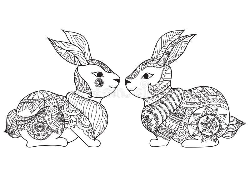 Χαριτωμένο μικρό σχέδιο τέχνης γραμμών κουνελιών δύο για να χρωματίσει το βιβλίο, κάρτες, σχέδιο μπλουζών και ούτω καθεξής διανυσματική απεικόνιση