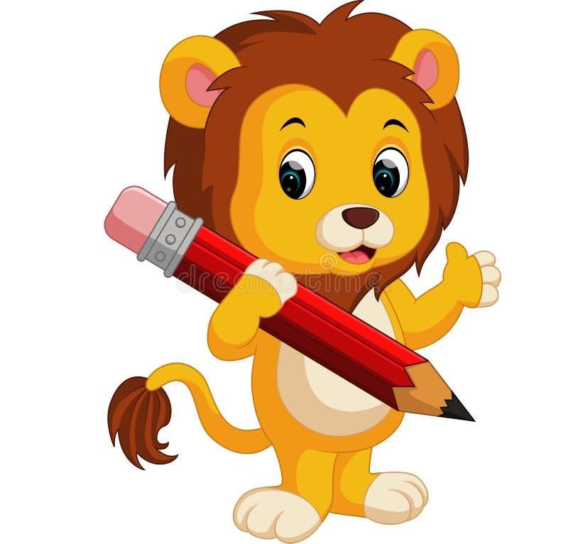 Χαριτωμένο μολύβι εκμετάλλευσης κινούμενων σχεδίων λιονταριών απεικόνιση αποθεμάτων