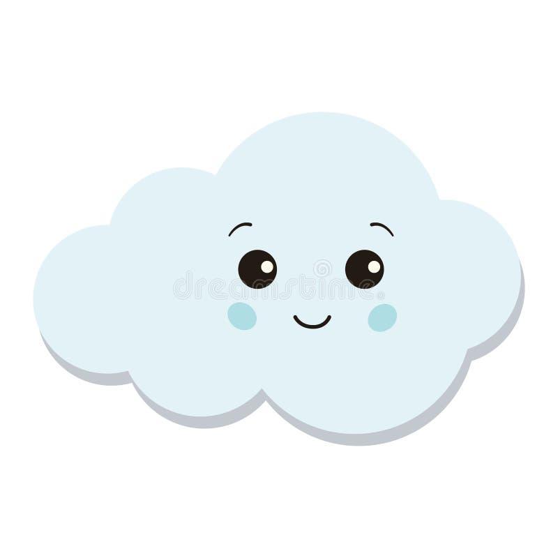 Χαριτωμένο μπλε εικονίδιο σύννεφων που απομονώνεται στο άσπρο υπόβαθρο απεικόνιση αποθεμάτων