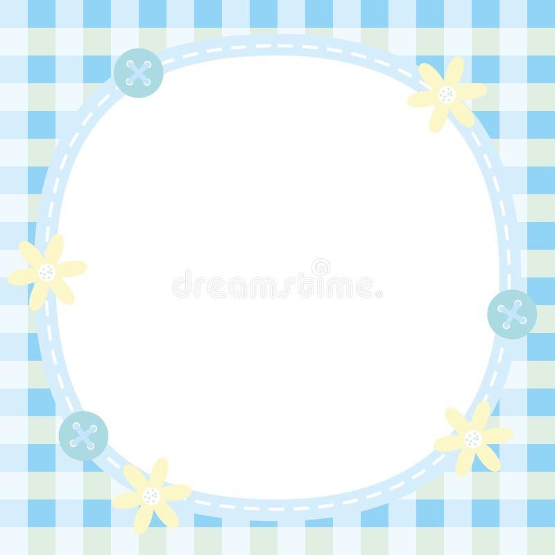 Χαριτωμένο μπλε πλαίσιο με το λουλούδι και κουμπί κατάλληλο για το πλαίσιο φωτογραφιών μωρών ή κοριτσιών απεικόνιση αποθεμάτων
