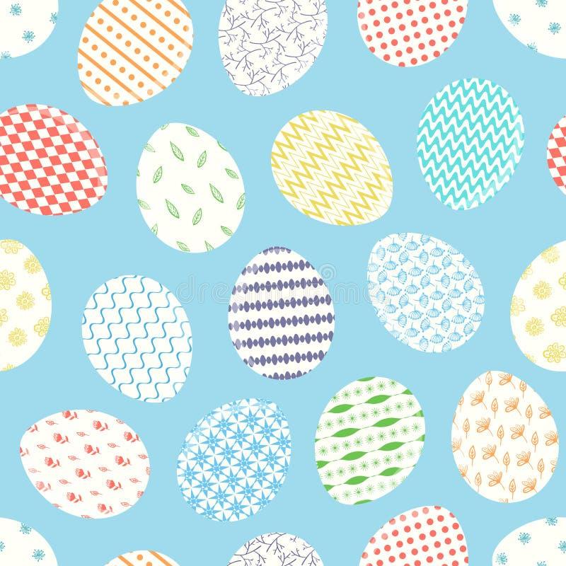 Χαριτωμένο μπλε σχέδιο με τα διακοσμημένα αυγά Πάσχας απεικόνιση αποθεμάτων