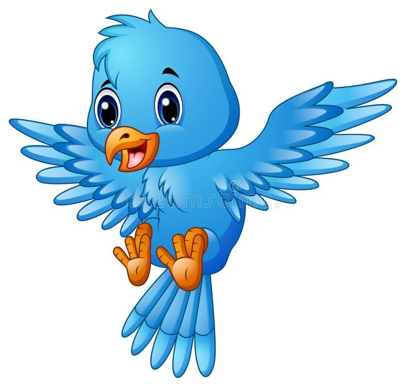 Χαριτωμένο μπλε πέταγμα κινούμενων σχεδίων πουλιών ελεύθερη απεικόνιση δικαιώματος