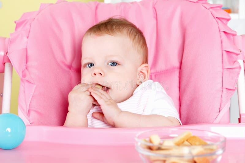 Χαριτωμένο μωρό που τρώει το μπισκότο στοκ εικόνα με δικαίωμα ελεύθερης χρήσης