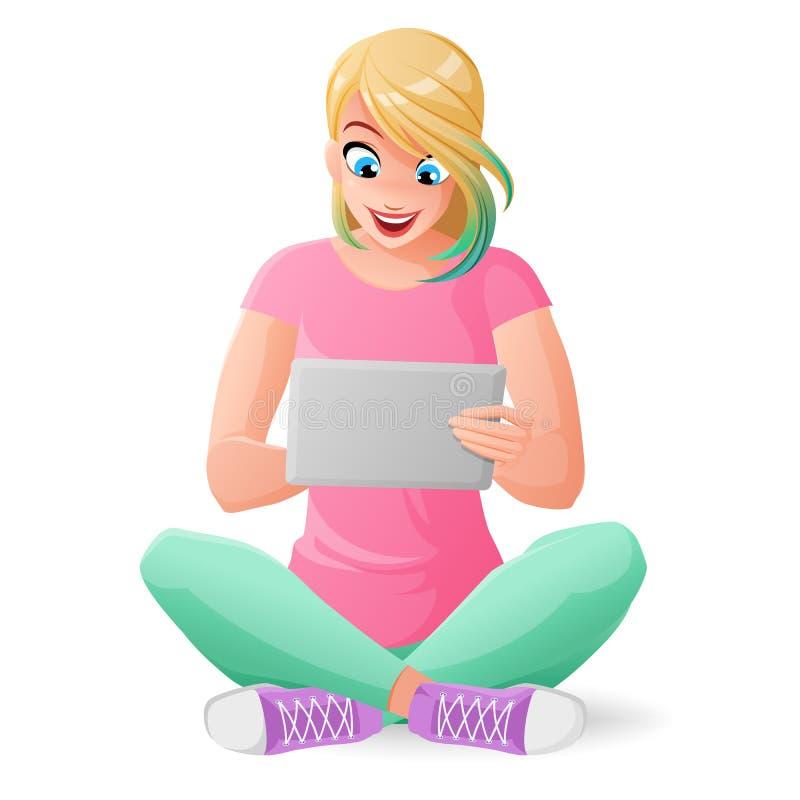 Χαριτωμένο νέο κορίτσι εφήβων που επικοινωνεί με τον υπολογιστή ταμπλετών Διανυσματική απεικόνιση κινούμενων σχεδίων που απομονών διανυσματική απεικόνιση
