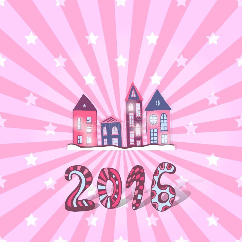 Χαριτωμένο νέο υπόβαθρο έτους Διανυσματικό γλυκό doodle διανυσματική απεικόνιση
