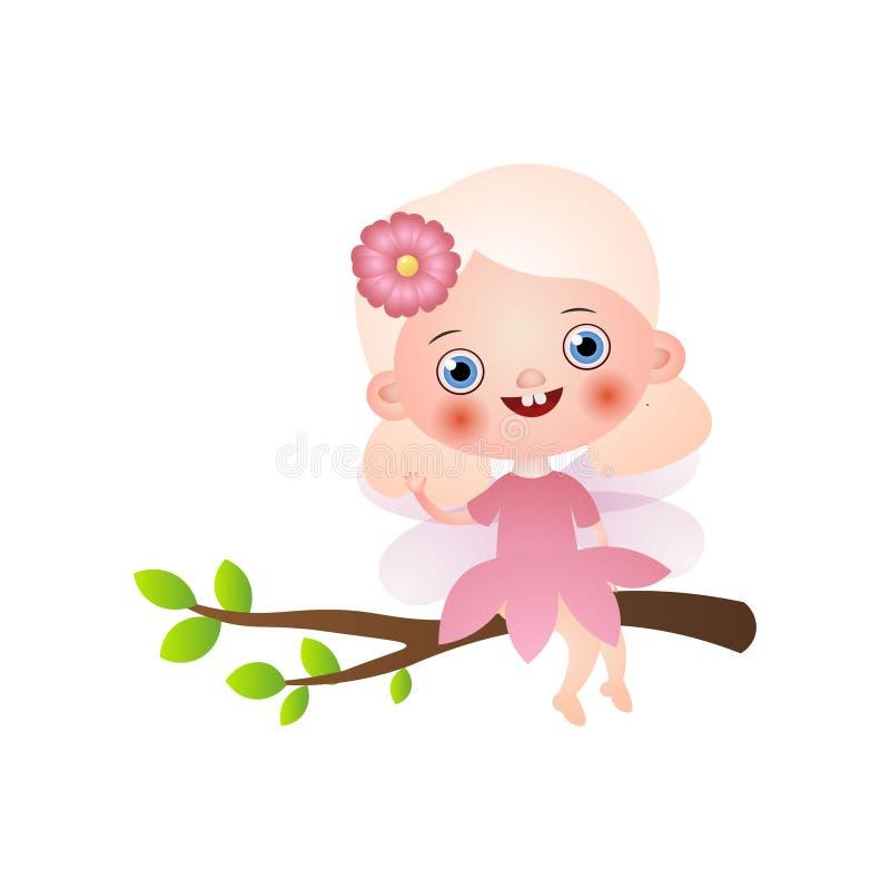 Χαριτωμένο ξανθό κορίτσι νεράιδων στη ρόδινη παραμονή φορεμάτων στον κλάδο δέντρων ελεύθερη απεικόνιση δικαιώματος