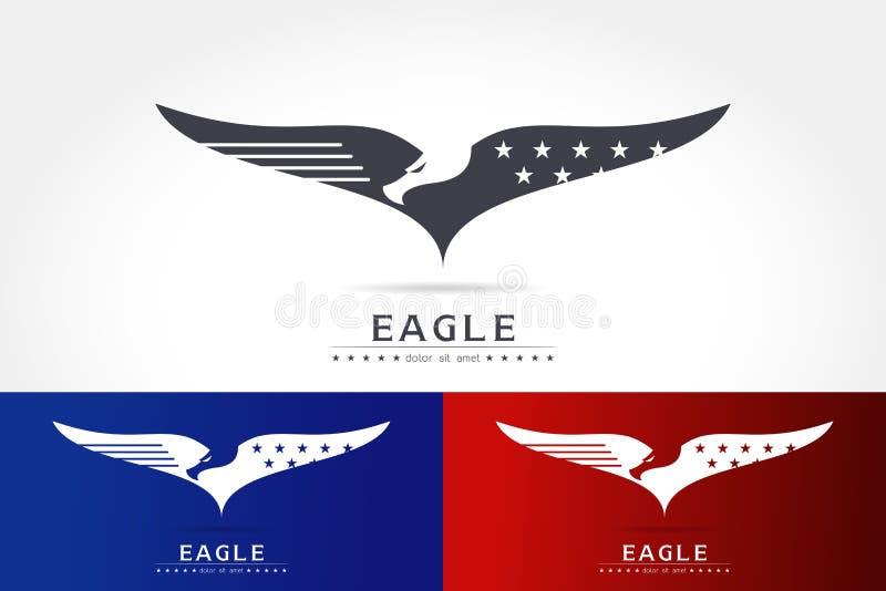 Χαριτωμένο λογότυπο σκιαγραφιών αετών στοκ εικόνες