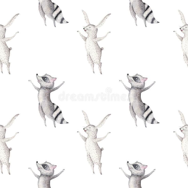 Χαριτωμένο οικογενειακό μωρό raccon, ελάφια και λαγουδάκι ζωικό giraffe βρεφικών σταθμών, και αντέχει την απομονωμένη απεικόνιση  ελεύθερη απεικόνιση δικαιώματος