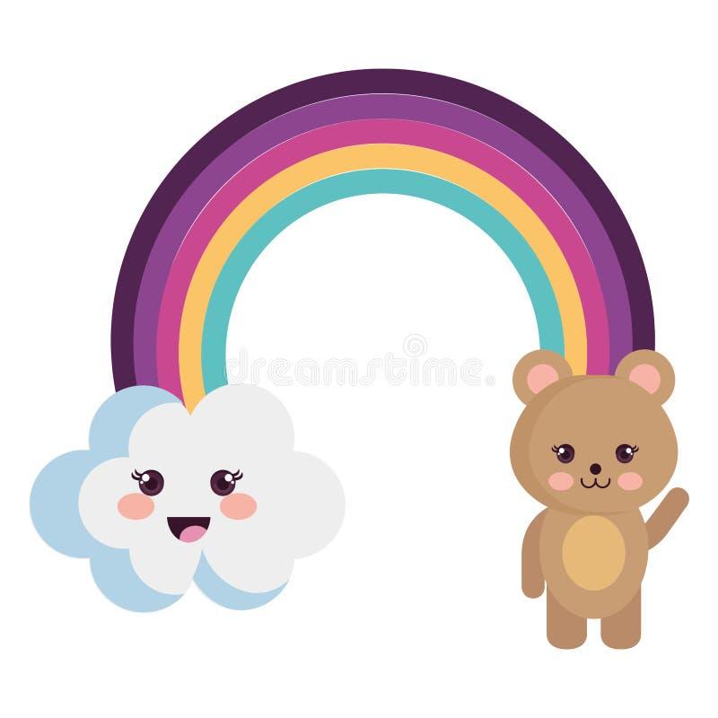 Χαριτωμένο ουράνιο τόξο με το σύννεφο και τους teddy χαρακτήρες kawaii απεικόνιση αποθεμάτων