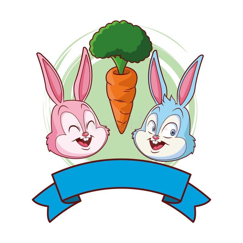Χαριτωμένο Πάσχας πορτρέτο φίλων λαγουδάκι ευτυχές με το καρότο γύρω από το έμβλημα κορδελλών πλαισίων διανυσματική απεικόνιση
