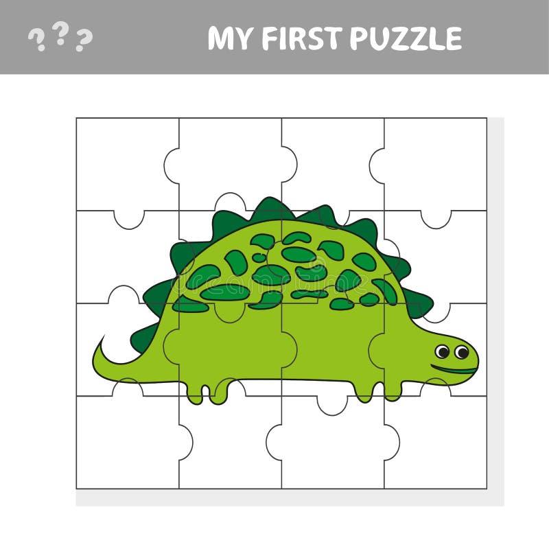 Χαριτωμένο παιχνίδι γρίφων Διανυσματική απεικόνιση του παιχνιδιού γρίφων με τα ευτυχή κινούμενα σχέδια Dino απεικόνιση αποθεμάτων