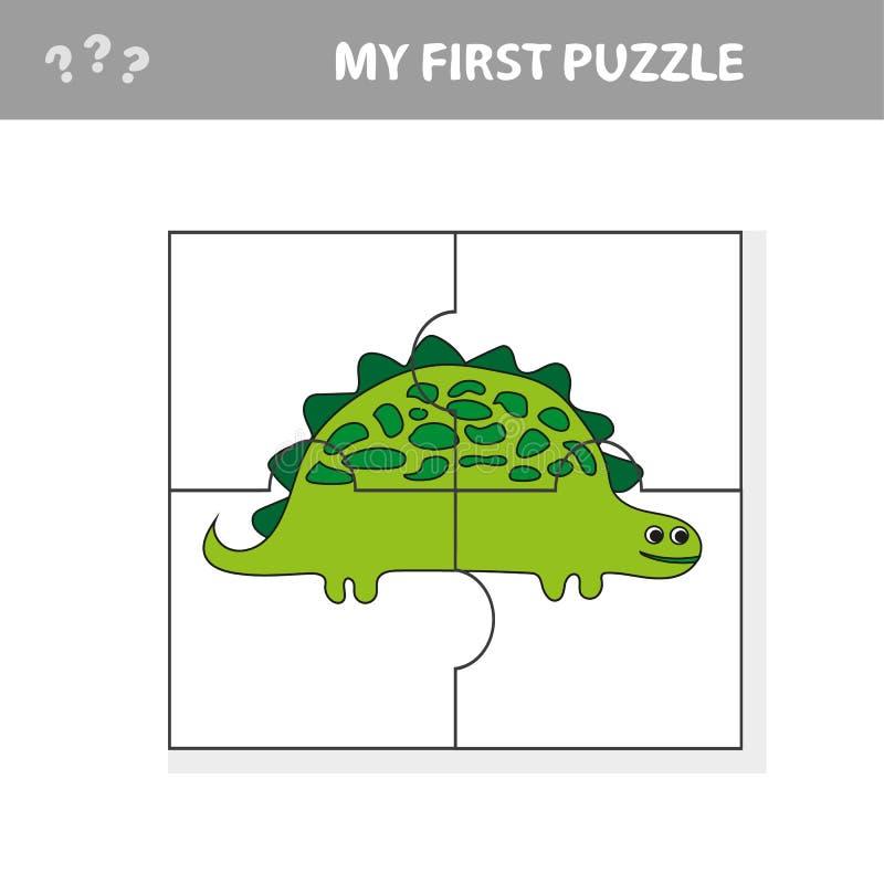 Χαριτωμένο παιχνίδι γρίφων Διανυσματική απεικόνιση του παιχνιδιού γρίφων με τα ευτυχή κινούμενα σχέδια Dino ελεύθερη απεικόνιση δικαιώματος