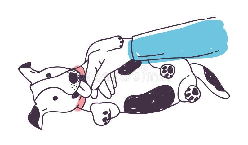 Χαριτωμένο παιχνίδι σκυλιών με το χέρι ιδιοκτητών ` s και γλείψιμο του Αστείο εύθυμο κουτάβι ή σκυλάκι που βρίσκεται στο πάτωμα π ελεύθερη απεικόνιση δικαιώματος