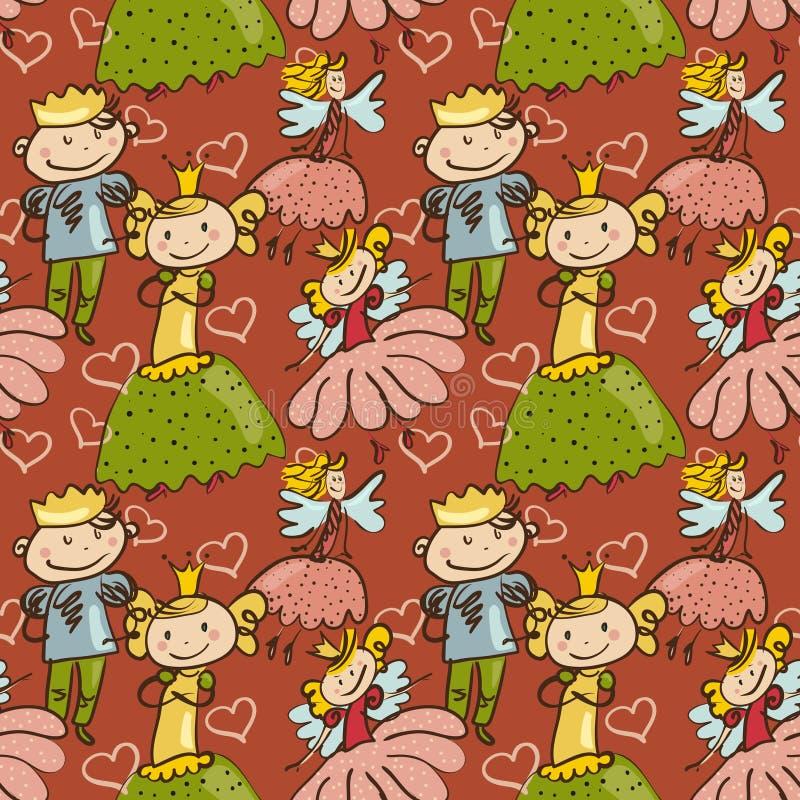 Χαριτωμένο παιδιάστικο άνευ ραφής σχέδιο με λίγη νεράιδα, τον πρίγκηπα και τις δημόσιες σχέσεις διανυσματική απεικόνιση