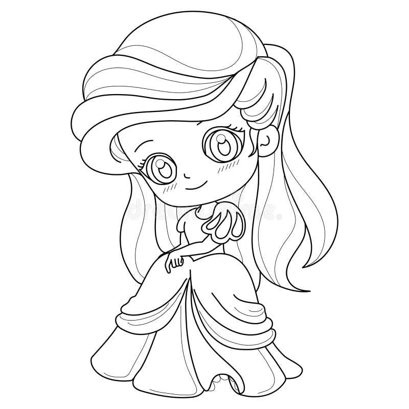 Χαριτωμένο παραμύθι Πριγκίπισσα σε λευκό φόντο για έγχρωμη σελίδα, απεικόνιση διανύσματος ελεύθερη απεικόνιση δικαιώματος