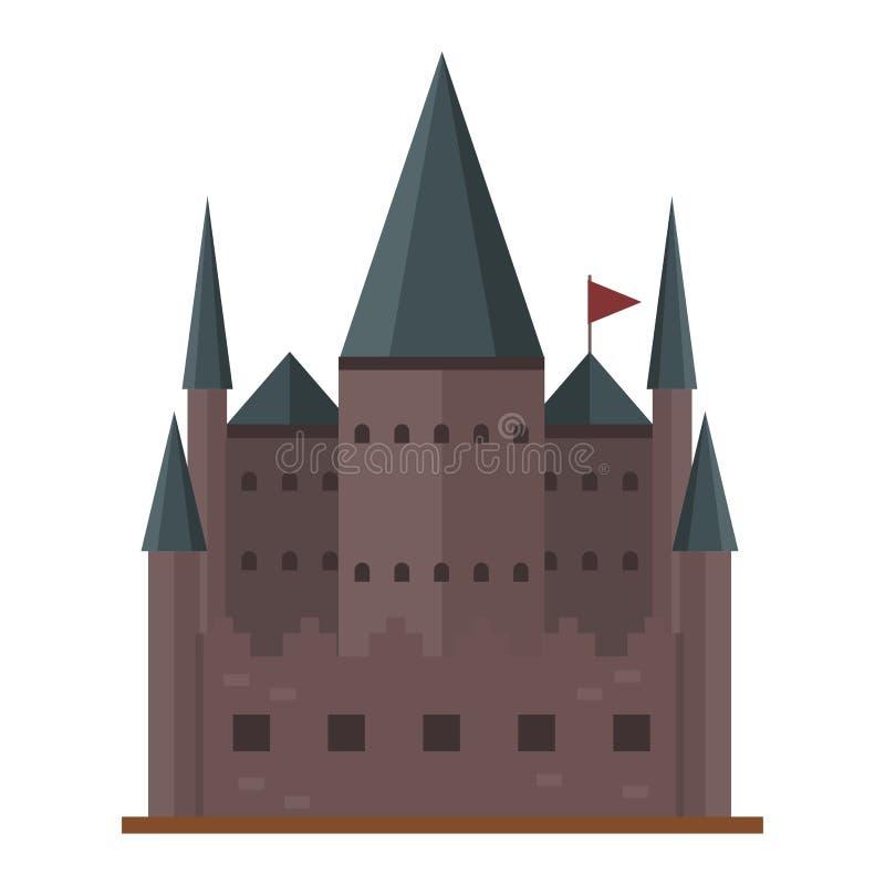 Χαριτωμένο παραμύθι σπιτιών φαντασίας αρχιτεκτονικής εικονιδίων πύργων κάστρων παραμυθιού κινούμενων σχεδίων μεσαιωνικό και σχέδι ελεύθερη απεικόνιση δικαιώματος