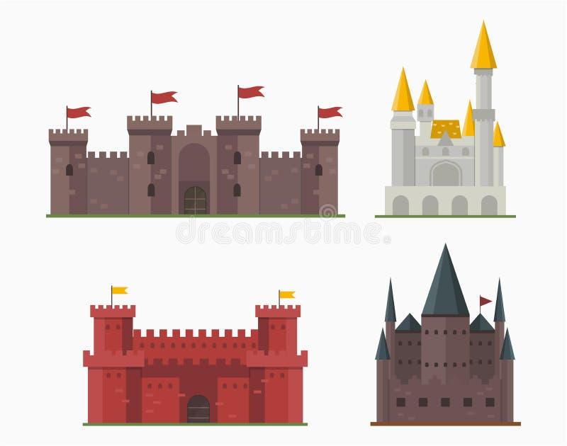 Χαριτωμένο παραμύθι σπιτιών φαντασίας αρχιτεκτονικής εικονιδίων πύργων κάστρων παραμυθιού κινούμενων σχεδίων μεσαιωνικό και σχέδι απεικόνιση αποθεμάτων