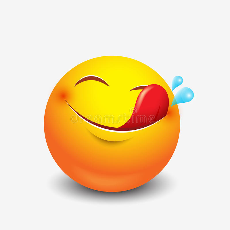 Χαριτωμένο πεινασμένο emoticon, emoji, smiley - απεικόνιση απεικόνιση αποθεμάτων