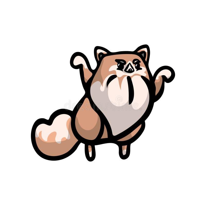 Χαριτωμένο πεινασμένο spitz καφετί χρώμα σκυλιών της Ιαπωνίας διανυσματική απεικόνιση