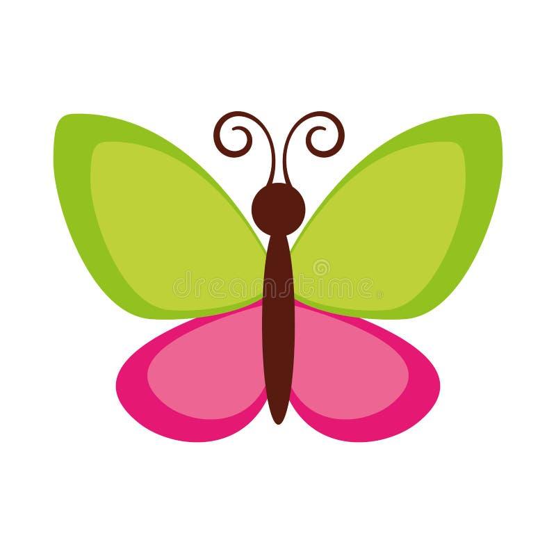 Χαριτωμένο πετώντας εικονίδιο πεταλούδων διανυσματική απεικόνιση