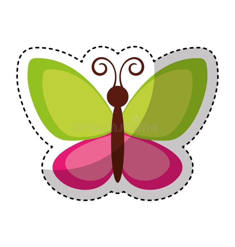 Χαριτωμένο πετώντας εικονίδιο πεταλούδων απεικόνιση αποθεμάτων