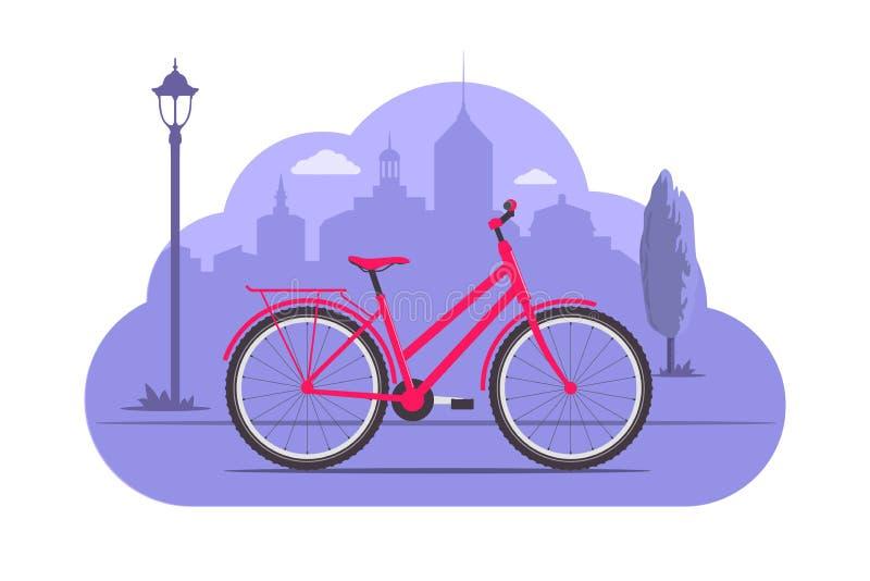 Χαριτωμένο ποδήλατο στο υπόβαθρο σκιαγραφιών πόλεων Ρόδινο ποδήλατο στο πορφυρό μονοχρωματικό υπόβαθρο Απεικόνιση έννοιας ποδηλάτ απεικόνιση αποθεμάτων