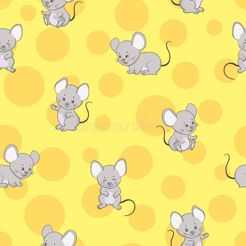 Χαριτωμένο ποντίκι κινούμενων σχεδίων και άνευ ραφής σχέδιο τυριών απεικόνιση αποθεμάτων