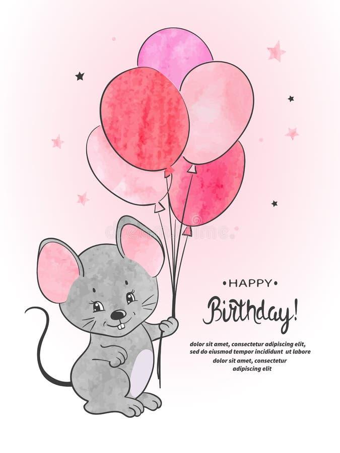 Χαριτωμένο ποντίκι με τη διανυσματική απεικόνιση watercolor μπαλονιών απεικόνιση αποθεμάτων