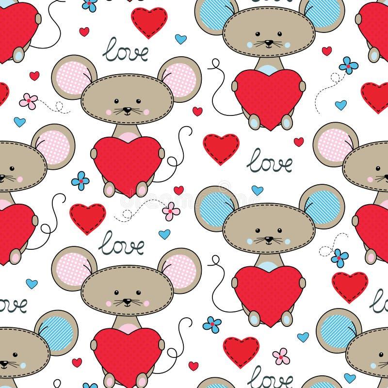 Χαριτωμένο ποντίκι με το άνευ ραφής σχέδιο καρδιών διανυσματική απεικόνιση