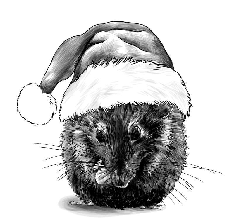 χαριτωμένο ποντίκι που κάθεται σταυρωμένος σε ένα μεγάλο χριστουγεννιάτικο καπέλο με γούνα στο κεφάλι του απεικόνιση αποθεμάτων