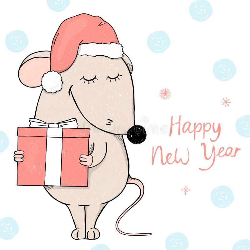 Χαριτωμένο ποντίκι σε ένα καπέλο Santa που κρατά ένα δώρο και ένα χαμόγελο Κάρτα για το νέα έτος και τα Χριστούγεννα διανυσματική απεικόνιση