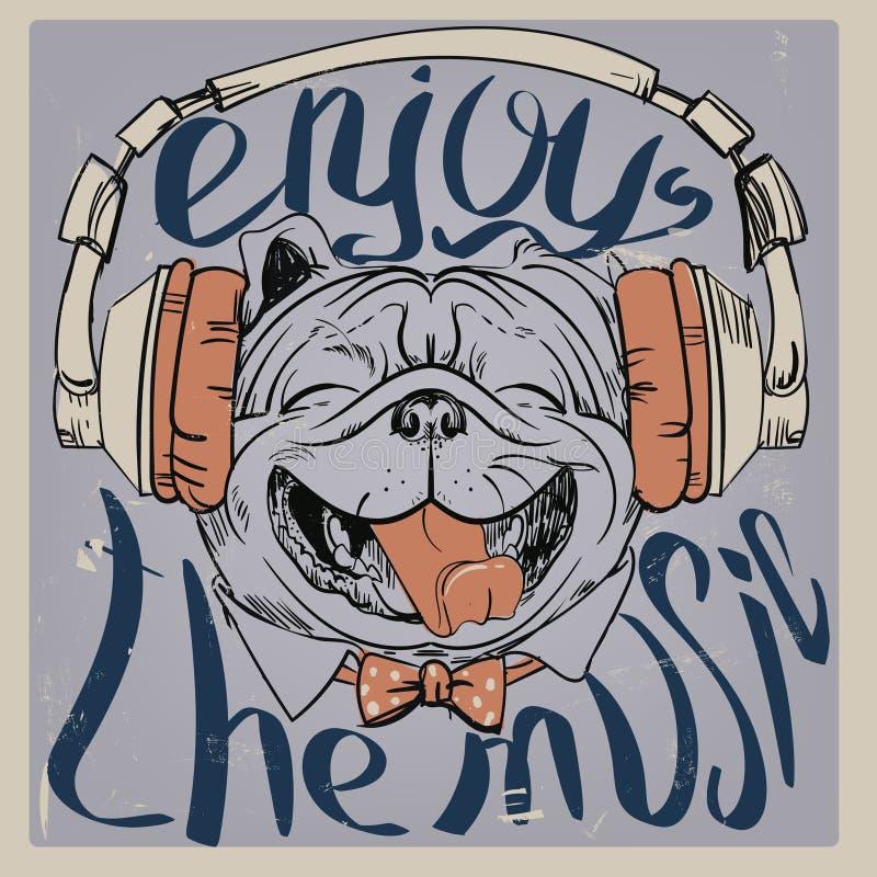 Χαριτωμένο πορτρέτο ενός σκυλιού ελεύθερη απεικόνιση δικαιώματος