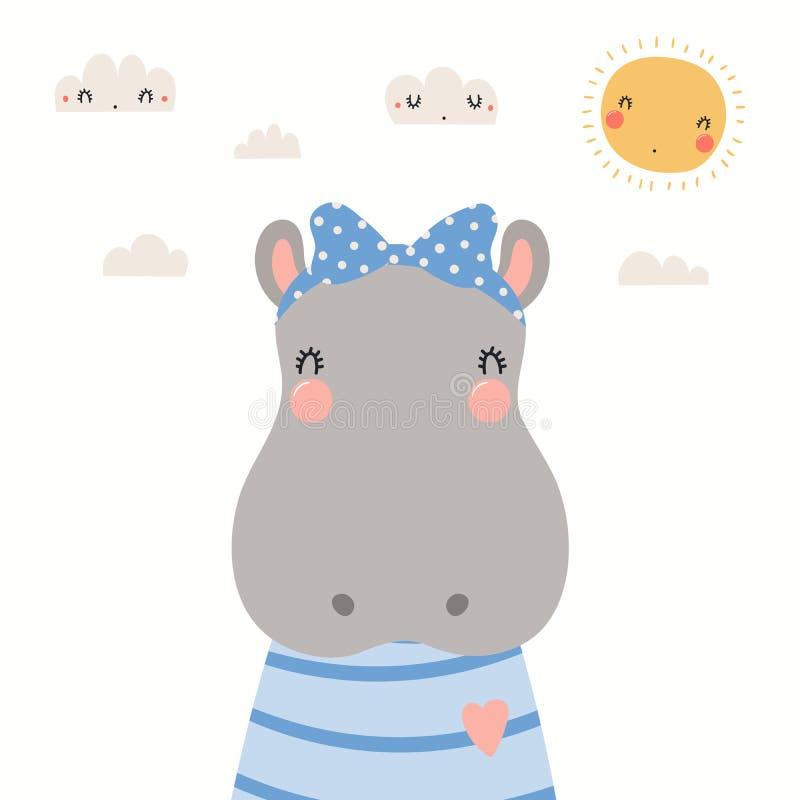 Χαριτωμένο πορτρέτο Hippo ελεύθερη απεικόνιση δικαιώματος