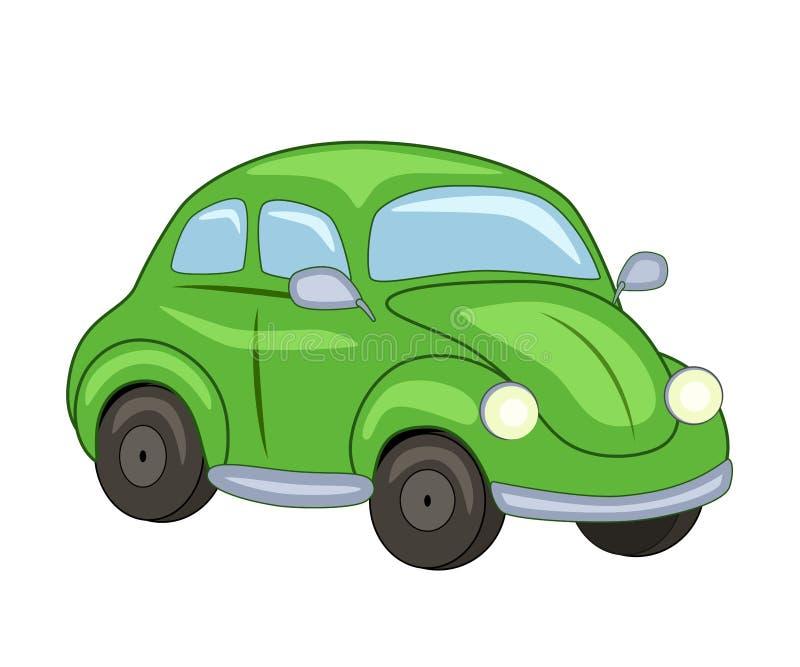 Χαριτωμένο πράσινο αυτοκίνητο κινούμενων σχεδίων Διανυσματική απεικόνιση που απομονώνεται στο άσπρο BA ελεύθερη απεικόνιση δικαιώματος