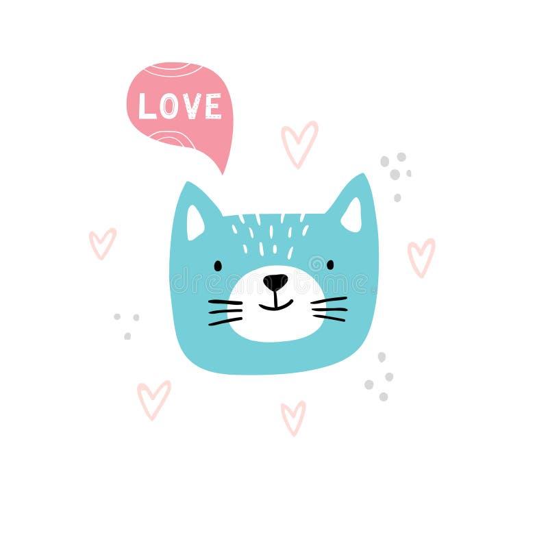 Χαριτωμένο πρόσωπο γατών κινούμενων σχεδίων Hand-drawn διανυσματική απεικόνιση με το κείμενο διανυσματική απεικόνιση
