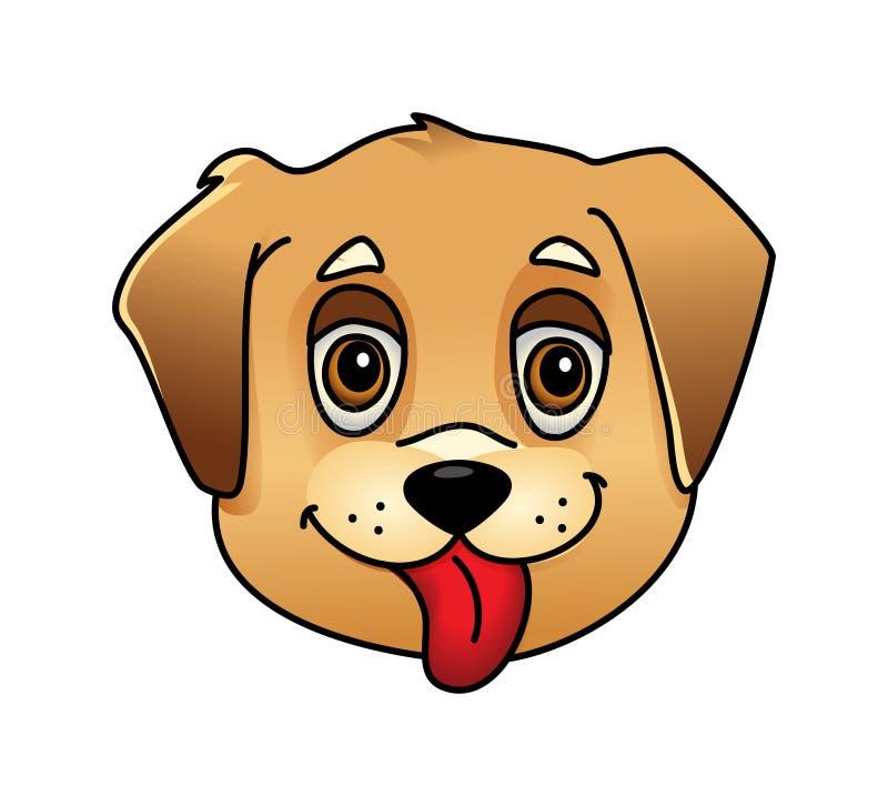 Χαριτωμένο πρόσωπο σκυλιών κινούμενων σχεδίων απεικόνιση αποθεμάτων